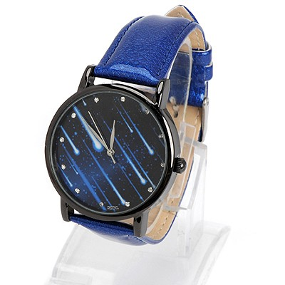 Handcrafte sapphire diamond decorated meteor shower pattern design alloy Ladies Watches