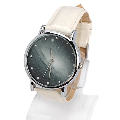 Hemp white diamond decorated starry sky pattern design alloy Ladies Watches