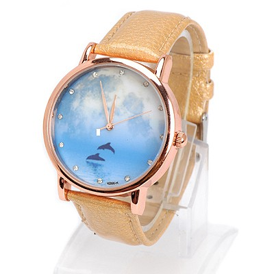 Bendable rose gold diamond decorated dolphins pattern design alloy Ladies Watches