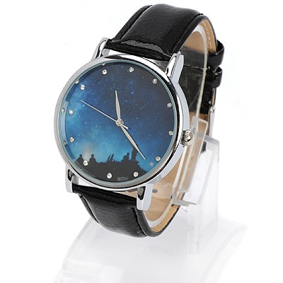 Electronic black diamond decorated starry sky pattern design alloy Ladies Watches