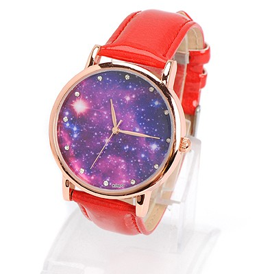 Imitation red diamond decorated starry sky pattern design alloy Ladies Watches