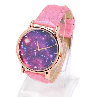 Cool pink diamond decorated starry sky pattern design alloy Ladies Watches
