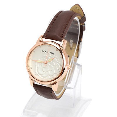 Male brown diamond decorated rose pattern design alloy Ladies Watches