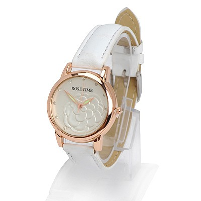 Cheap white diamond decorated rose pattern design alloy Ladies Watches