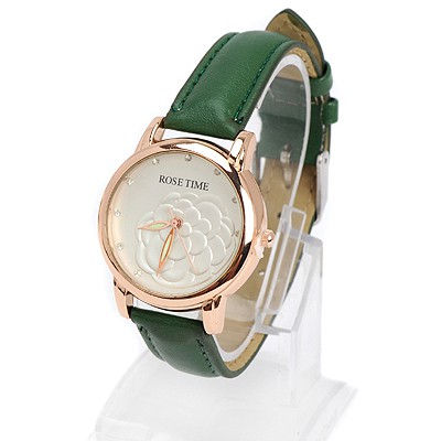 Dash green diamond decorated rose pattern design alloy Ladies Watches