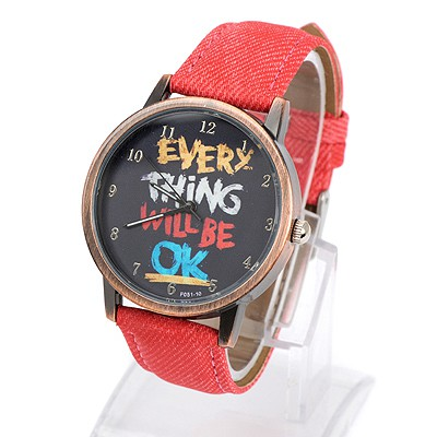 Hemming red letters pattern simple design alloy Ladies Watches