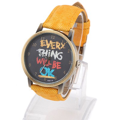 Top Rated yellow letters pattern simple design alloy Ladies Watches