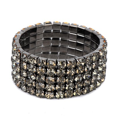 Heavy gun black diamond decorated multilayer design alloy Korean Fashion Bracelet