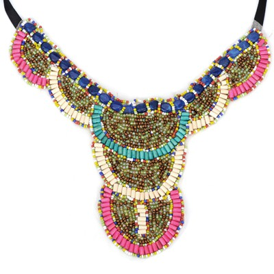 Circle multicolor beads decorated collar design alloy Bib Necklaces