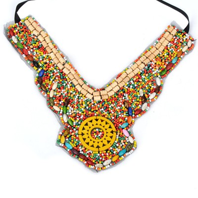 Locket multicolor bead decorated V collar shape design bead Bib Necklaces