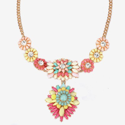 Glam multicolor CZ diamond decorated flower design alloy Bib Necklaces