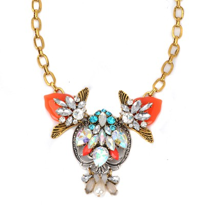 Bulk multicolor diamond decorated flower design alloy Bib Necklaces