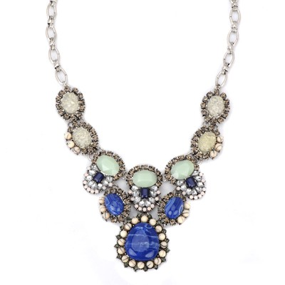 Piercing blue gemstone decorated oval shape design alloy Bib Necklaces