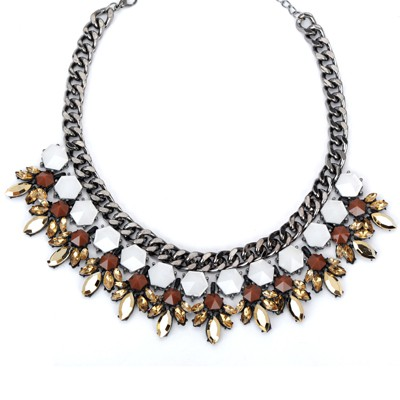 Portable yellow CZ diamond decorated waterdrop design alloy Bib Necklaces