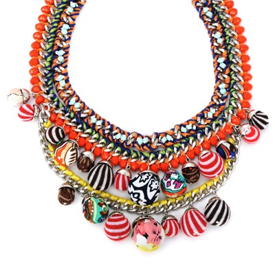 Rave multicolor large beads decorated multilayer design