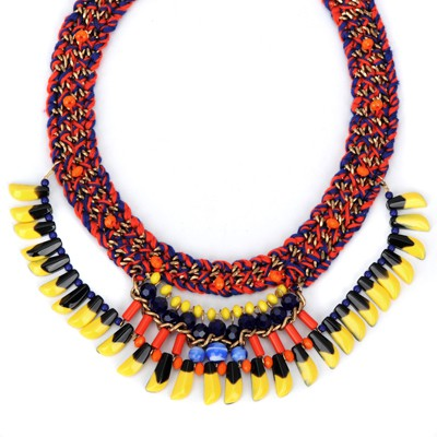 Korean multicolor bead decorated tassel design alloy Bib Necklaces