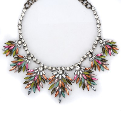 Expired multicolor diamond decorated leaf design alloy Bib Necklaces