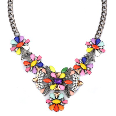 Extreme multicolor gemstone decorated bowknot shape design alloy Bib Necklaces