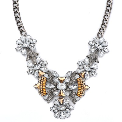 Reversible white gemstone decorated bowknot shape design alloy Bib Necklaces