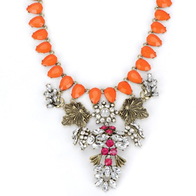 Dash orange diamond decorated leaf shape design alloy Bib Necklaces