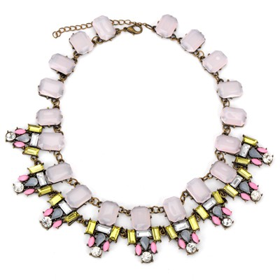 Dreamlike light pink rectangular gemstone decorated simple design alloy Bib Necklaces