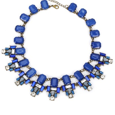 Infant blue rectangular gemstone decorated simple design alloy Bib Necklaces