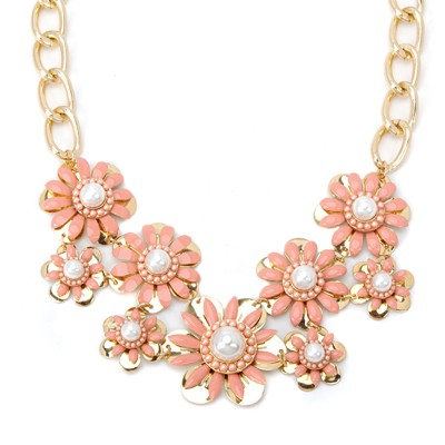 Bendable pink pearl decorated flower design alloy Bib Necklaces