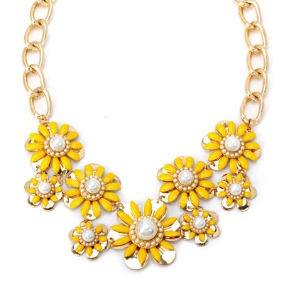 Lace yellow pearl decorated flower design alloy Bib Necklaces