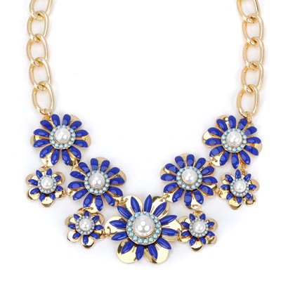 Eatable blue pearl decorated flower design alloy Bib Necklaces
