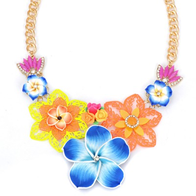 Buckle blue flower decorated hollow out design alloy Bib Necklaces