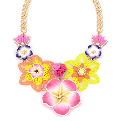 Estate pink flower decorated hollow out design alloy Bib Necklaces