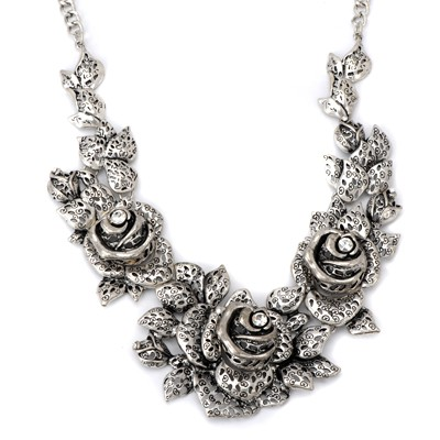 Splendid ancient silver color rose flower shape design alloy Bib Necklaces