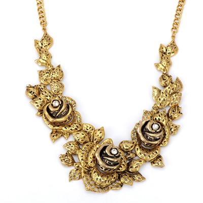 Executive bronze rose flower shape design alloy Bib Necklaces