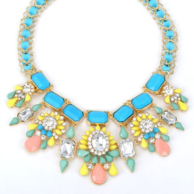 Arrowhead blue gemstone decorated flower design alloy Bib Necklaces
