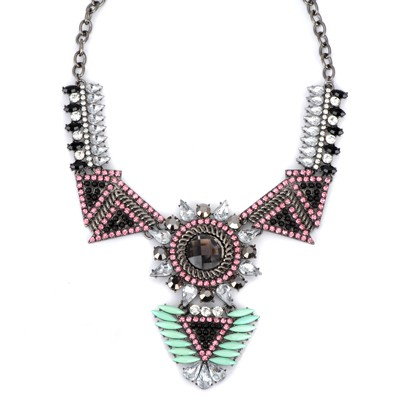 Vintage pink diamond decorated triangle shape design alloy Bib Necklaces