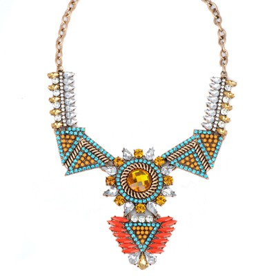 Stretch blue diamond decorated triangle shape design alloy Bib Necklaces