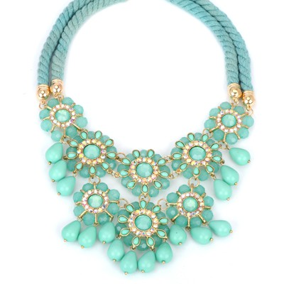 Tungsten green diamond decorated flower tassel design alloy Bib Necklaces