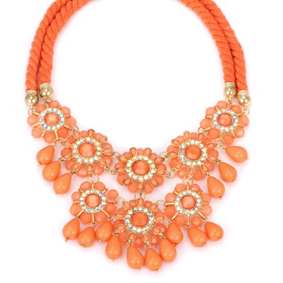 Softshell orange diamond decorated flower tassel design alloy Bib Necklaces