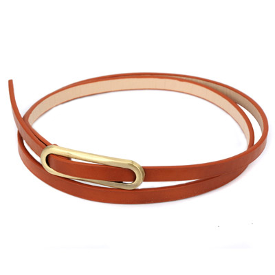 Statement brown metal buckle simple design alloy Thin belts