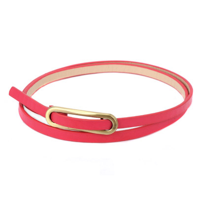 Concealed plum red metal buckle simple design alloy Thin belts
