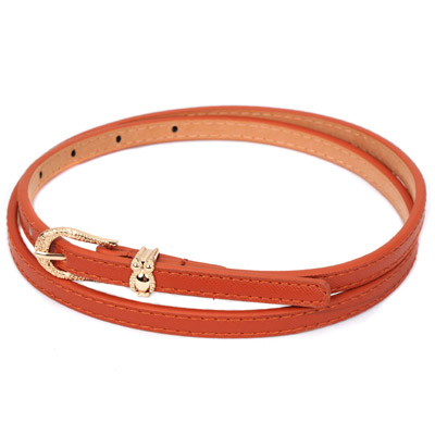 Stretch brown owl shape decorated metal buckle design alloy Thin belts
