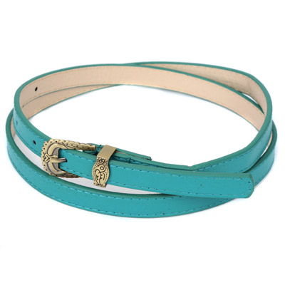Womens green carved metal buckle simple design alloy Thin belts