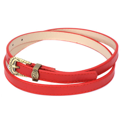 Wonderful red carved metal buckle simple design