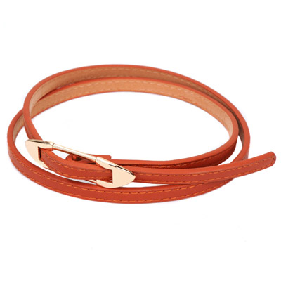 Bendable brown bidirectional arrow buckle design alloy Thin belts