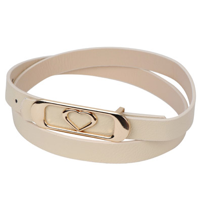 Famale beige heart shape decorated oval buckle design alloy Thin belts