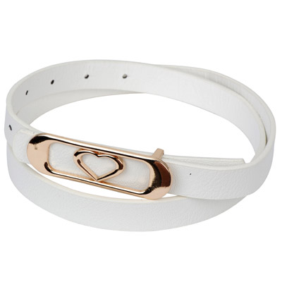 Memorial white heart shape decorated oval buckle design alloy Thin belts