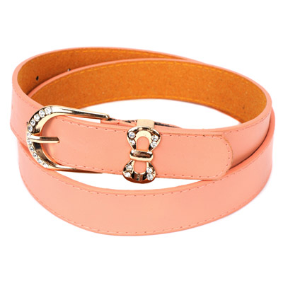 Plain pink diamond decorated bowknot shape buckle design alloy Thin belts