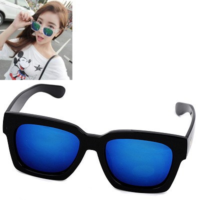 Stretch black & blue big frame Blue lens simple design
