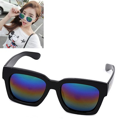 Spiritual black & multicolor big frame multicolor lens design resin Women Sunglasses