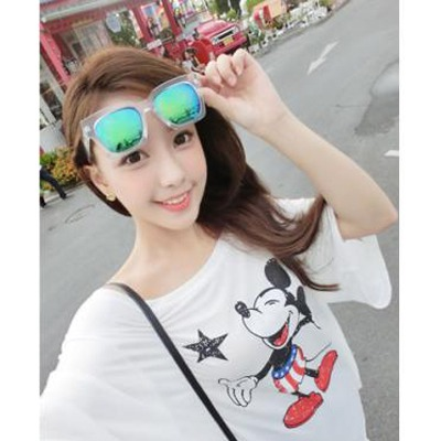 Noble transparent white&blue big frame Blue lens simple design resin Women Sunglasses